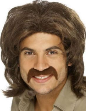 Mens 70s Retro Guy Fancy Dress Wig Brown